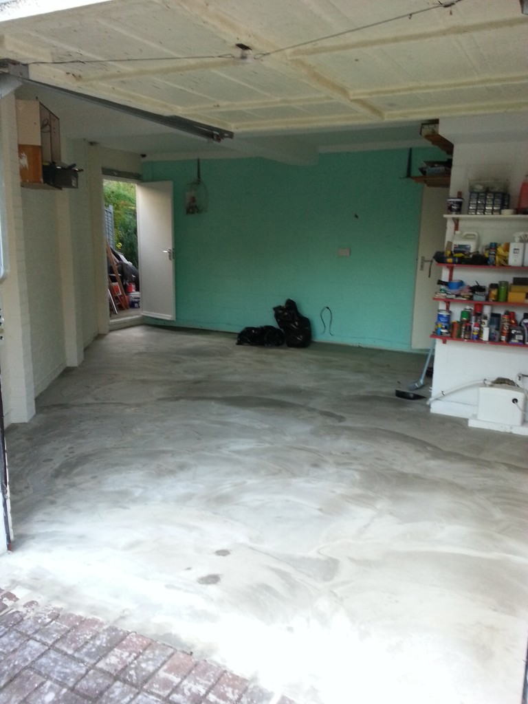 Original garage floor before tiling.