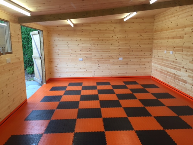 orange-black-check-garage-floor