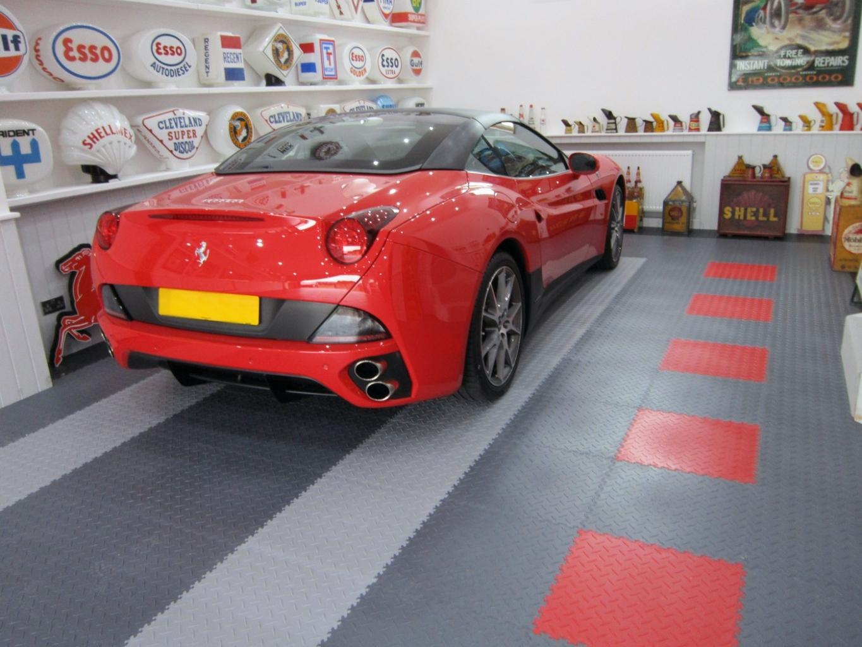 Motolock Tile Floor with Red Ferrari.