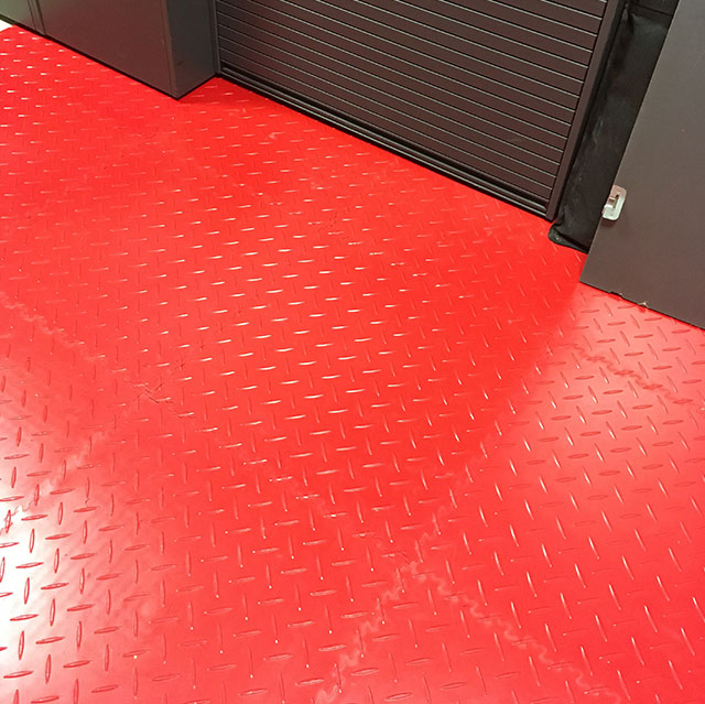 interlocking tiles in a small garage